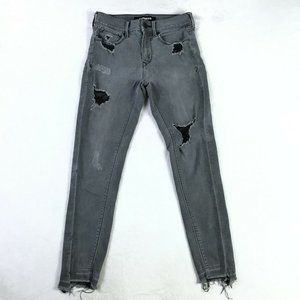 Express Distressed Ankle Legging Mid Rise Jeans